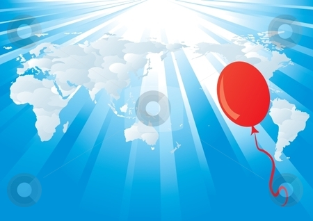 World background stock vector clipart, Vector world map background with rays and balloon by Milsi Art