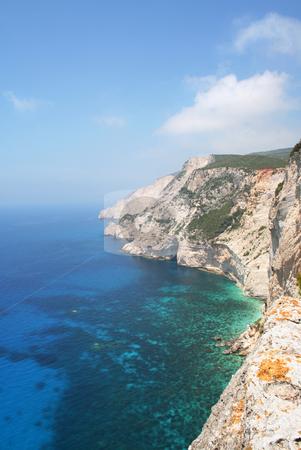 Emerald Sea stock photo, High cliffs and really blue/green sea, west coast of Zante (Zakynthos) by Helen Shorey