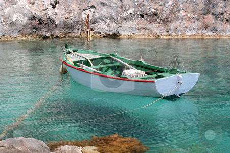 Green & White Fishing Boat stock photo, Small Greek fishing boat moored at Porto Vromi, Zante (Zakynthos) by Helen Shorey