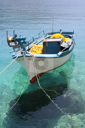 White & Blue Fishing Boat stock photo, Small fishing boat moored at Porto Vromi, Zante (Zakynthos by Helen Shorey