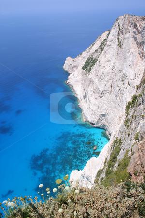 Cliffs at Kampi, Zante stock photo, View from clifftop restaurant at Kampi, west coast of Zante (Zakynthos) by Helen Shorey