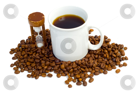 It's Coffee Time stock photo, Complete view of a cup of coffee, a pile of beans and an hourglass, isolated against a white background by Richard Nelson