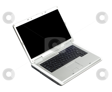 Isolated Laptop stock photo, An open laptop isolated against a white background by Richard Nelson