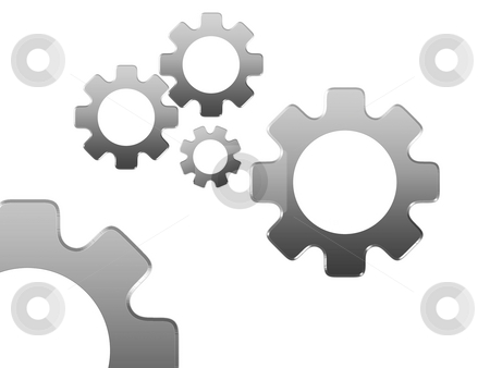 Manpower stock photo, Gears isolated on white by Luca Bertolli