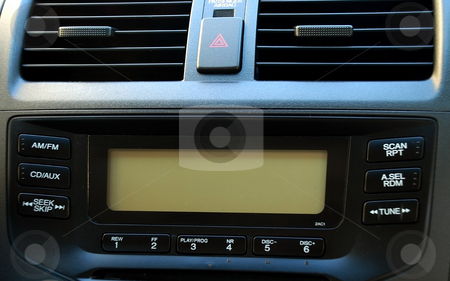 Music in the car stock photo, Stereo and ventilation system in a new car by Albert Lozano