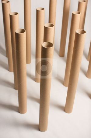 Empty plotter rolls stock photo, Abstract composition of empy rolls for A1 plotter. by Andrea Bronzini