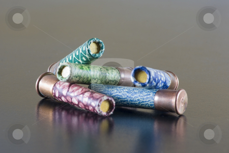 Hunting stock photo, Heap of hunting cartridges of different colors. by Serge VILLA