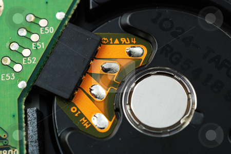 Close up of hard drive stock photo, Close up pictures of the controller for a hard drive by Albert Lozano