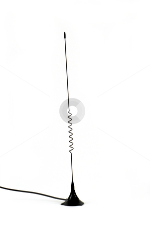 Antennas stock photo, Stock pictures of a communications antenna with a coil by Albert Lozano