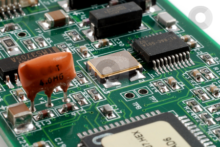 Electronics boards stock photo, Stock pictures of boards and equipment using electronic components and connectors by Albert Lozano