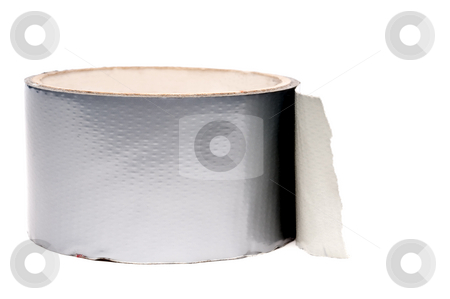 A roll of silver duct tape on white stock photo, A roll of silver duct tape on white by Vince Clements