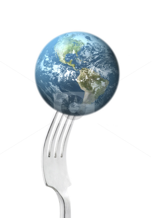 Healthy Eating stock photo, Fork holding earth on a white background by John Teeter