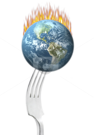 Earth on Fire stock photo, Fork holding earth on fire on white background by John Teeter