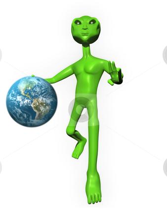 3D Alien on white background holding Earth stock photo, 3D Alien on a white background posing by John Teeter