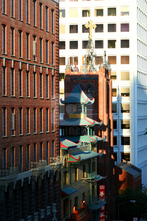 China Town Meets Down Town stock photo, Downtown building with contrasting old historic aged and modern architecture. by Richard Clack