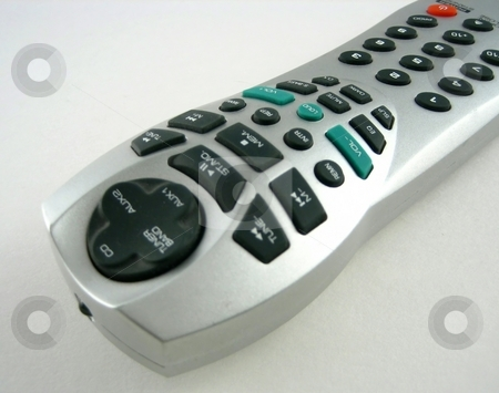 Remote control stock photo, Pictures of different remote controls for electronic equipment by Albert Lozano