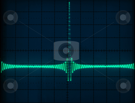 Display of Waveforms  stock photo, Stock pictures of waveform displays correspondig to several electrical and electronic signal for analysis by Albert Lozano