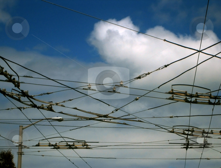 Power and electricity stock photo, Stock pictures of wires in the city for power distribution by Albert Lozano