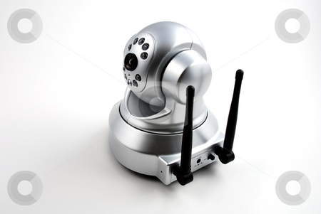 Security camera stock photo, Stock picture of a wireless digital security camera used for surveillance by Albert Lozano