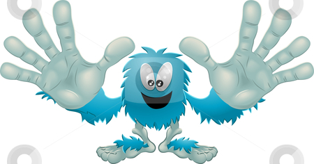 Cute friendly furry blue monster stock vector clipart, Illustration of a cute friendly furry blue monster by Christos Georghiou