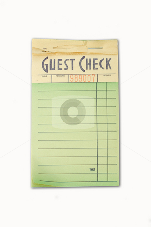 Guest check pad stock photo, A restaurant order pad isolated on white by Jonathan Hull