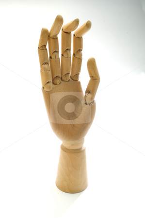 Wooden hand stock photo, A wooden artist's hand on white by Jonathan Hull
