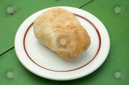 Dinner roll stock photo, A dinner roll on a white plate by Jonathan Hull