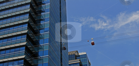 Singapore Skyscraper and Cable Car stock photo, Skyscraper in Singapore; photographed in October 2008 by Manuela Schueler