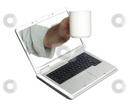 Coffee At Work stock photo, Concept image of having a coffee while working, isolated against a white background by Richard Nelson