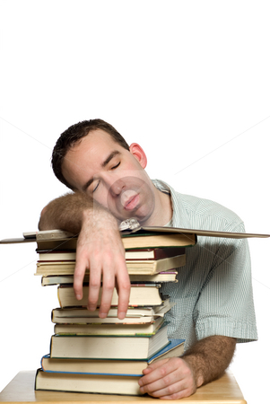 Snoozing Student stock photo, A student who fell asleep on his pile of books, isolated against a white background by Richard Nelson