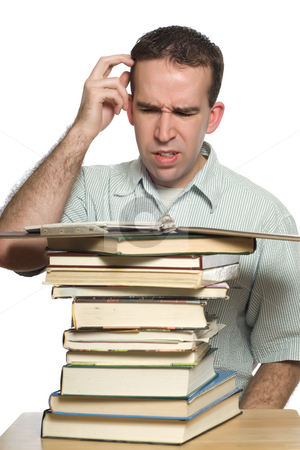 Confused Student stock photo, A confused student scratching his head as he tries to study his notes, isolated against a white background by Richard Nelson