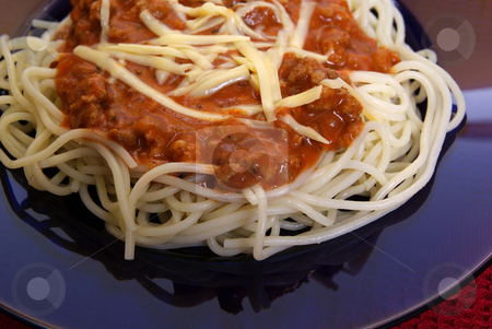 Spaghetti stock photo, Freshly cooked spaghetti with tomato sauce and meat by Jolanta Dabrowska