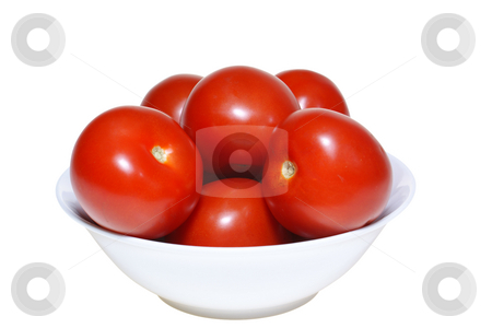 Tomatoes stock photo, Red tomatoes in bowl isolated on white background by Jolanta Dabrowska