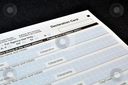 Customs declaration card stock photo, Canadian Customs declaration card by Fernando Barozza