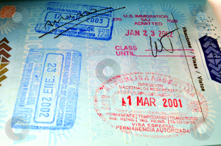 Passport stock photo, Migration stamps on passport. by Fernando Barozza