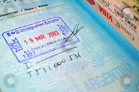 Passport stock photo, Immigration stamp on passport. by Fernando Barozza