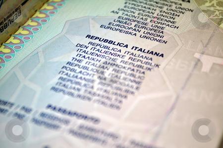 Italian passport stock photo, Italian passport, translation to many different languages. by Fernando Barozza