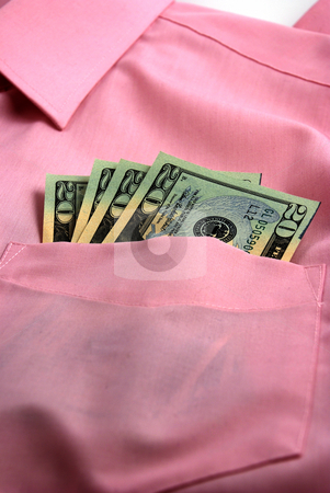 Money on pocket stock photo, pictures of several twenty dollar bills in the pocket of a shirt by Albert Lozano