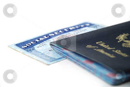 Social security card stock photo, Stock pictures of a social security card and a passport by Albert Lozano