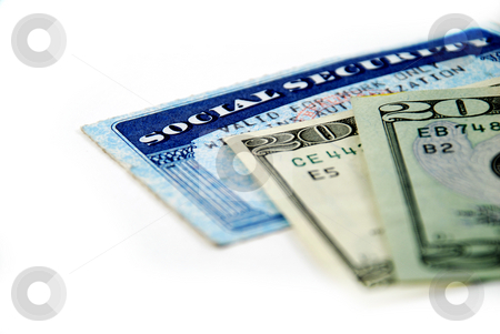 Social security benefits stock photo, Stock pictures of a social security card and money by Albert Lozano