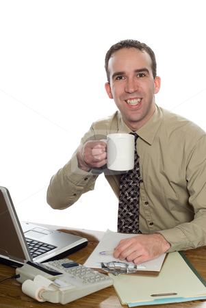 Lawyer Drinking Coffee stock photo, A young lawyer at his desk drinking a cup of coffee, isolated against a white background by Richard Nelson