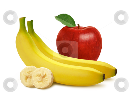 Apple and Bananas stock photo, Apple and Bananas isolated on a white background by Danny Smythe