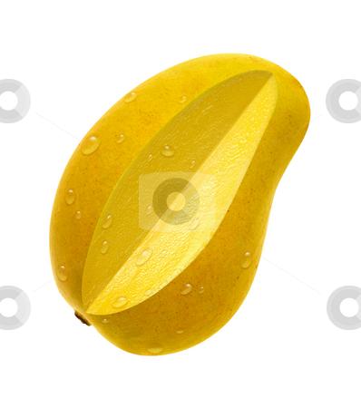 Ataulfo Mango Slice stock photo, Ataulfo Mango Slice on a white background with a clipping path by Danny Smythe