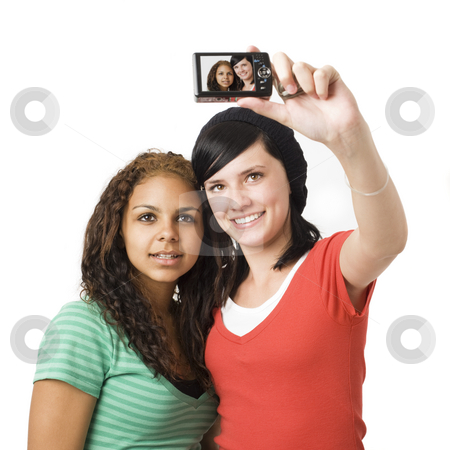 Teens play with camera stock photo, Teens take self portrait with a digital camera by Rick Becker-Leckrone