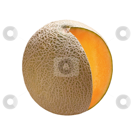 Cantaloupe stock photo, Cantaloupe on white with a clipping path by Danny Smythe