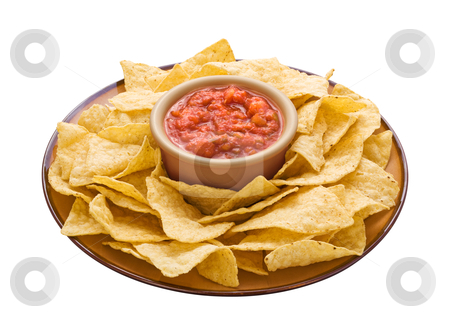 Chips & Dip stock photo, Chips & Dip isolated on a white background by Danny Smythe