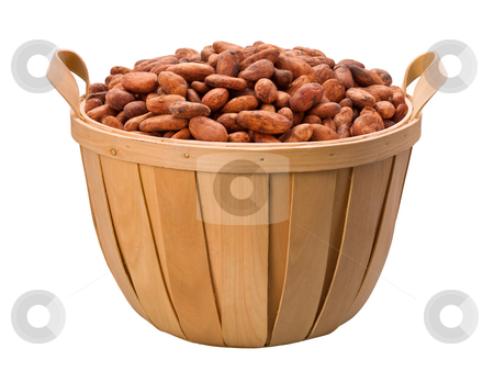 Cocoa Bean Basket stock photo, Cocoa Bean Basket isolated on a white background by Danny Smythe