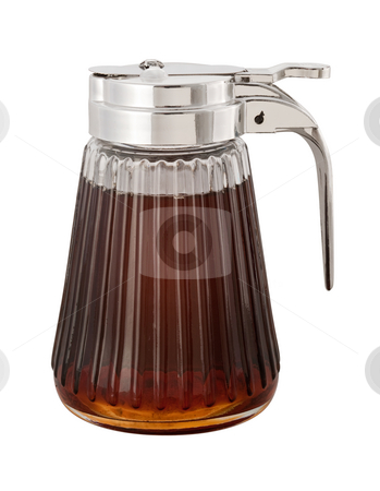 Maple Syrup stock photo, Maple Syrup and dispenser with a clipping path by Danny Smythe