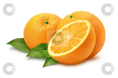 Oranges stock photo, Oranges & Leaves isolated with a clipping path by Danny Smythe