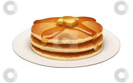 Pancakes stock photo, Pancakes isolated on a white background by Danny Smythe